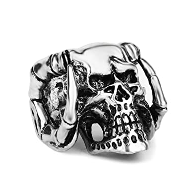 devil s blue rings titanium punk women ring jewelry men steel eye item evil fashion