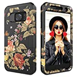Galaxy S7 Case,Digital Hutty 3 in 1 Shockproof Heavy Duty Full-body Protective Cover for Samsung Galaxy S7 Flower
