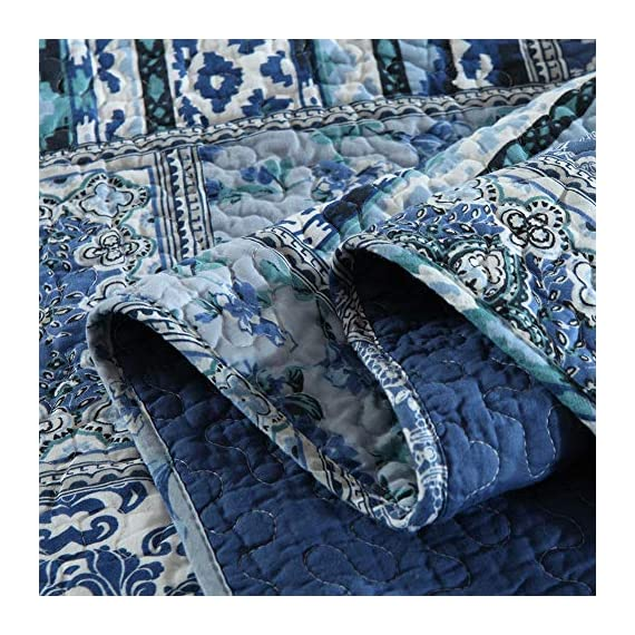 NEWLAKE Quilted Throw Blanket for Bed Couch Sofa, Blue Classic Bohemian, 60X78 Inch - Unique Design: Blue Classic Bohemian Patchwork Package Content: 1 piece of decorative throw blanket (60 *78 Inch) Care Instruction: machine wash separately in cold water, tumble dry low heat - blankets-throws, bedroom-sheets-comforters, bedroom - 61Xu5ast4DL. SS570  -