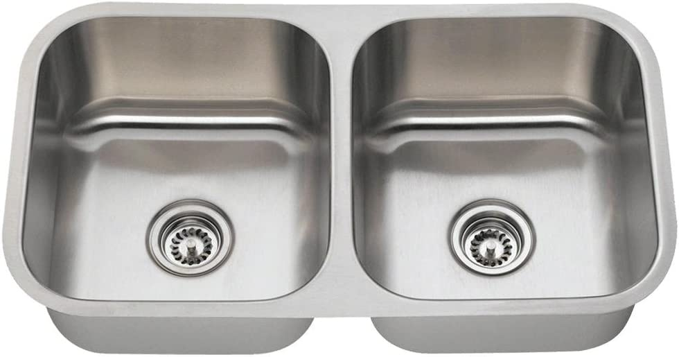 502a 16 Gauge Undermount Equal Double Bowl Stainless Steel Kitchen Sink Amazon Com