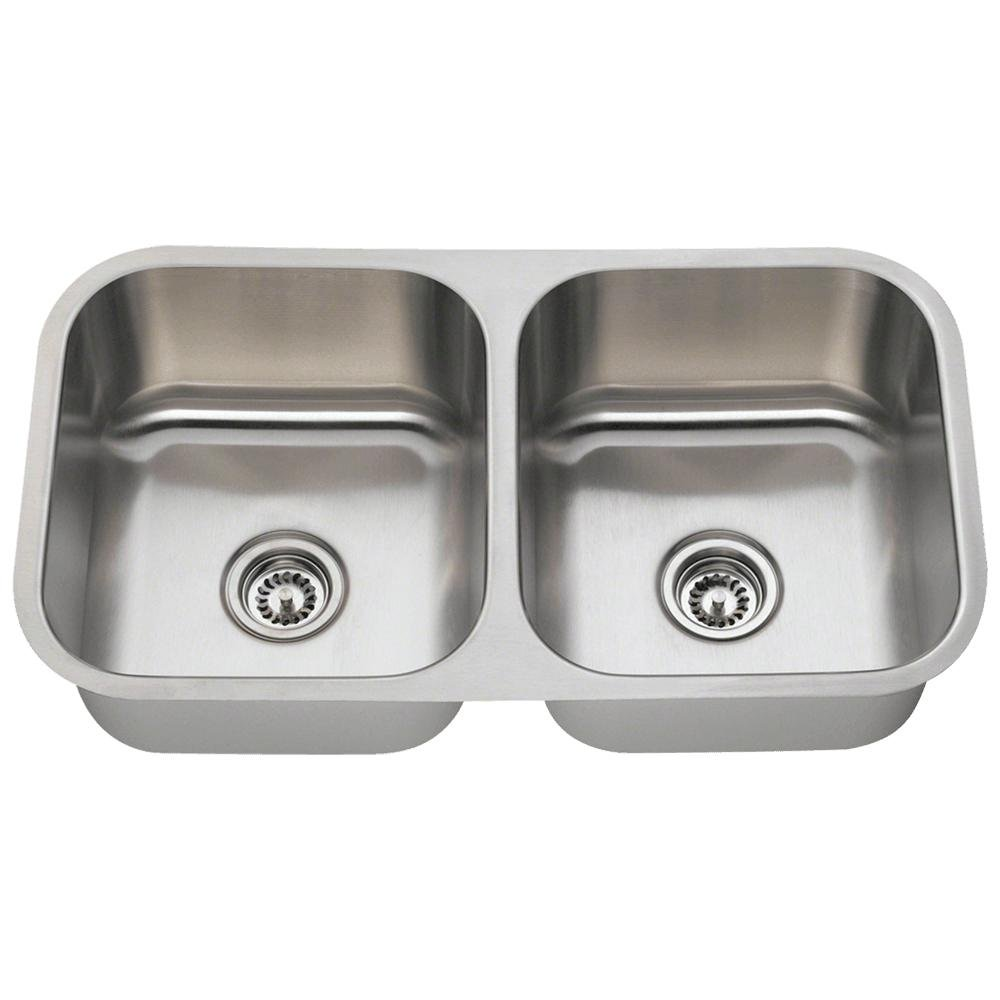 502A 16-Gauge Undermount Equal Double Bowl Stainless Steel Kitchen ...