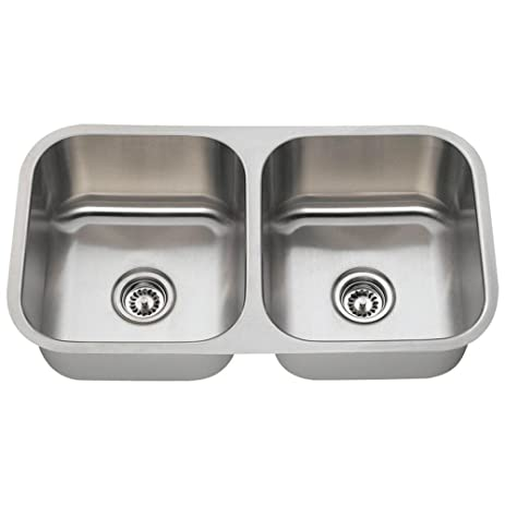 502a 16 gauge undermount equal double bowl stainless steel kitchen sink 502a 16 gauge undermount equal double bowl stainless steel kitchen      rh   amazon com