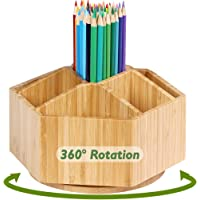Bamboo Rotating Art Supply Organizer, 7 Sections, Hold 350+ Pencils, School Supplies Organizer for Pen, Colored Pencil…