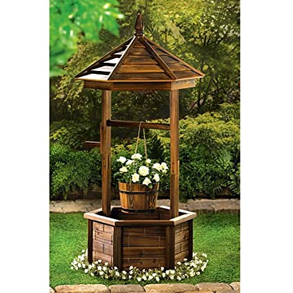 Amazon Com Rustic Wishing Well Planter Planter Boxes Garden