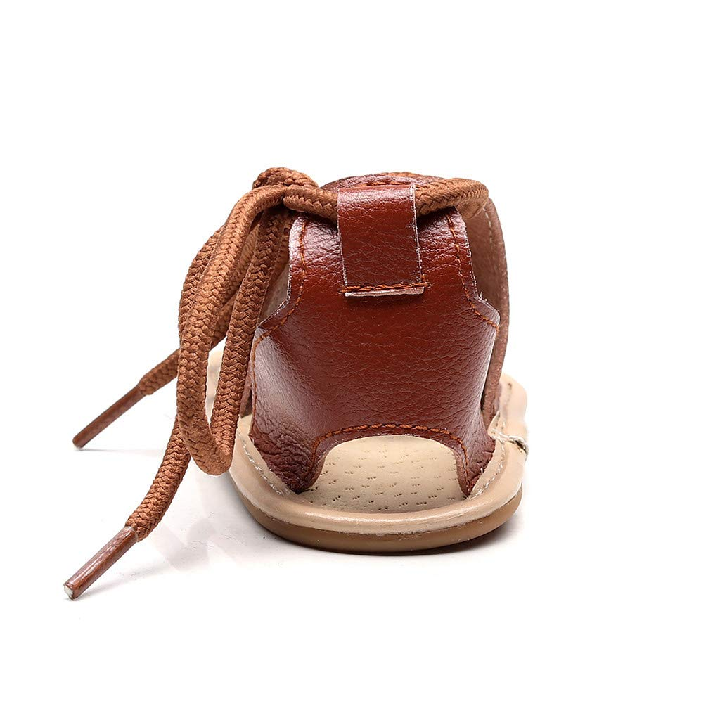 Kimanli Infant Baby Girl Beach Leather Rome Straps Sole Summer Sandal FirstShoes