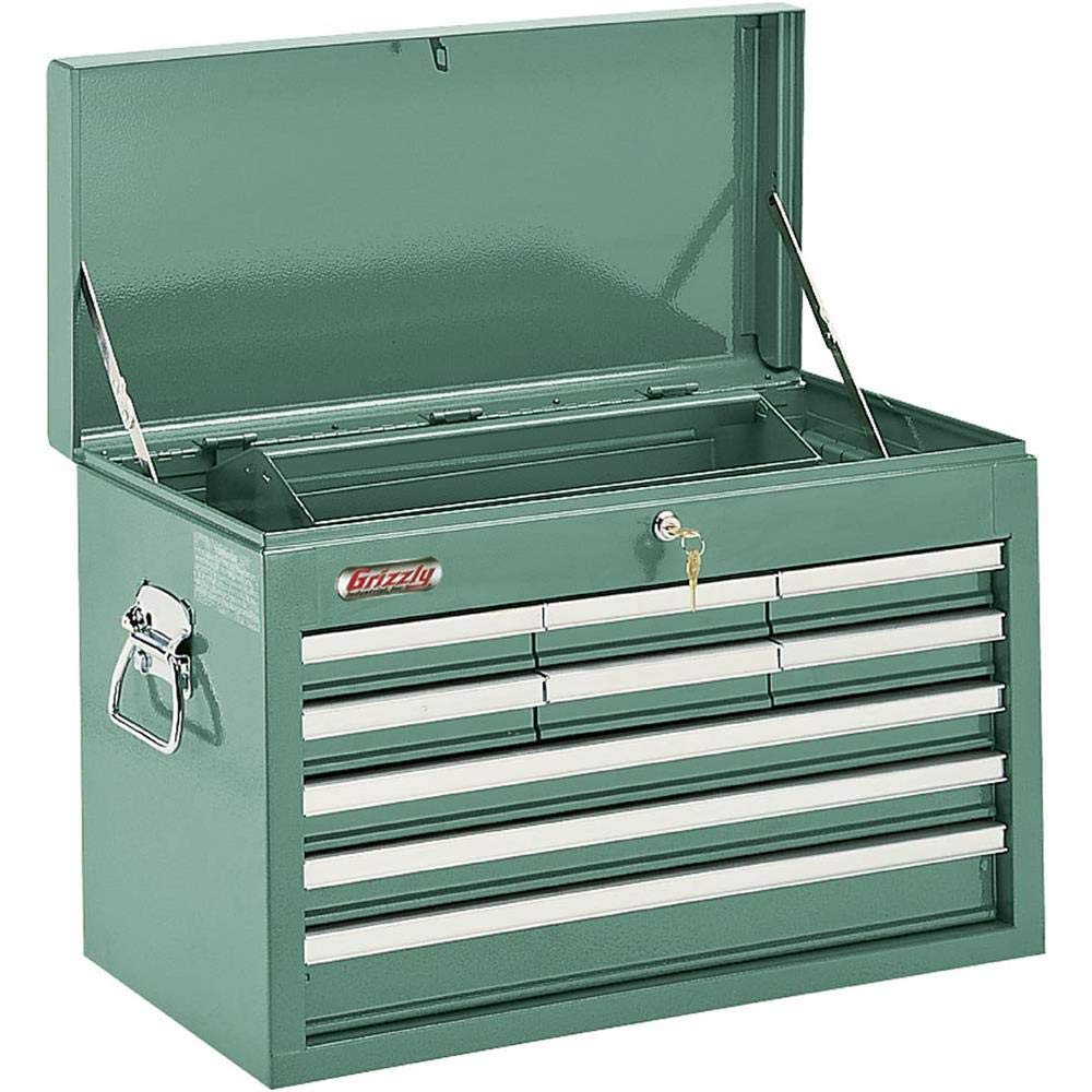 Grizzly H0839 9 Drawer Top Chest with Bal Length Bearing Slides