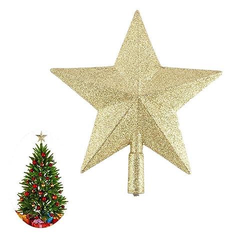 Baumschmuck Tannenbaumspitze Christbaum Weihnachtsbaum Deko Stern Silber Glitzer