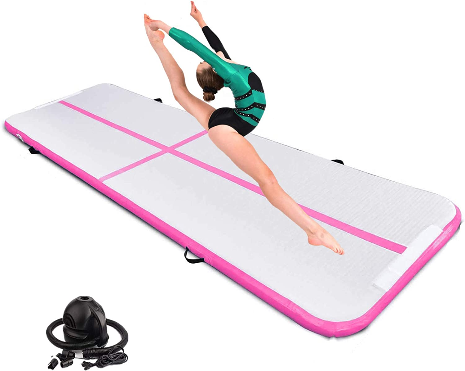 Tumble Track Mat 16ft Inflatable Air Gymnastics Tumbling Mat 4inch Thickness for Home Use/Yoga/Practice Gymnastics/Water with Electric Pump(Pink)