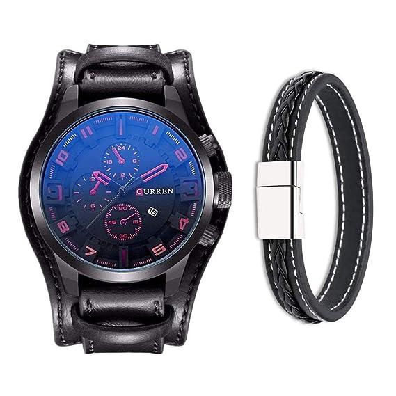 Reloj de pulsera CURREN de cuero, para hombre, de estilo militar clásico