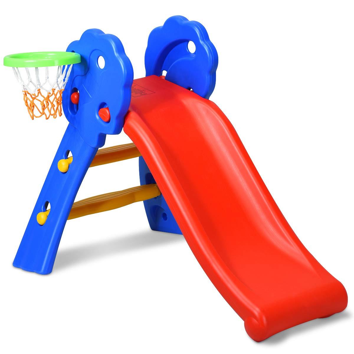 BABY JOY Folding Slide, Indoor First Slide Plastic Play Slide Climber Kids (Floral Rail +Basketball Hoop)