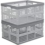 Parlynies 2 Pack Plastic Collapsible Storage Basket, Folding Storage Crate, 30 Liter