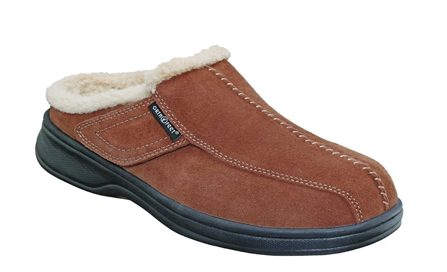 Orthofeet Most Comfortable Arch Support Asheville Diabetic Mens Orthopedic Brown Leather Slippers B008BAL94C 12 2E US