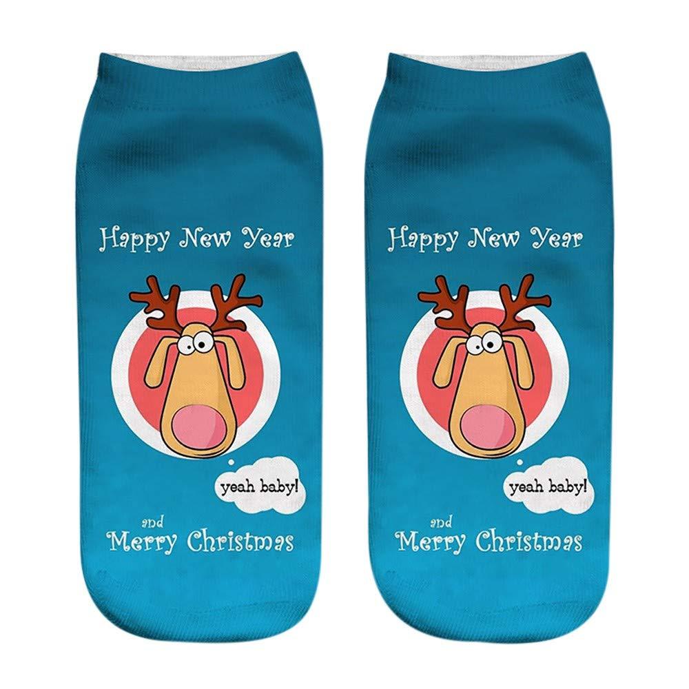 WUAI Clearance Sale,Unisex Christmas Sock Funny 3D Printed Holiday Halloween Fashion Casual Warm Low Cut Socks(G,Free Size)