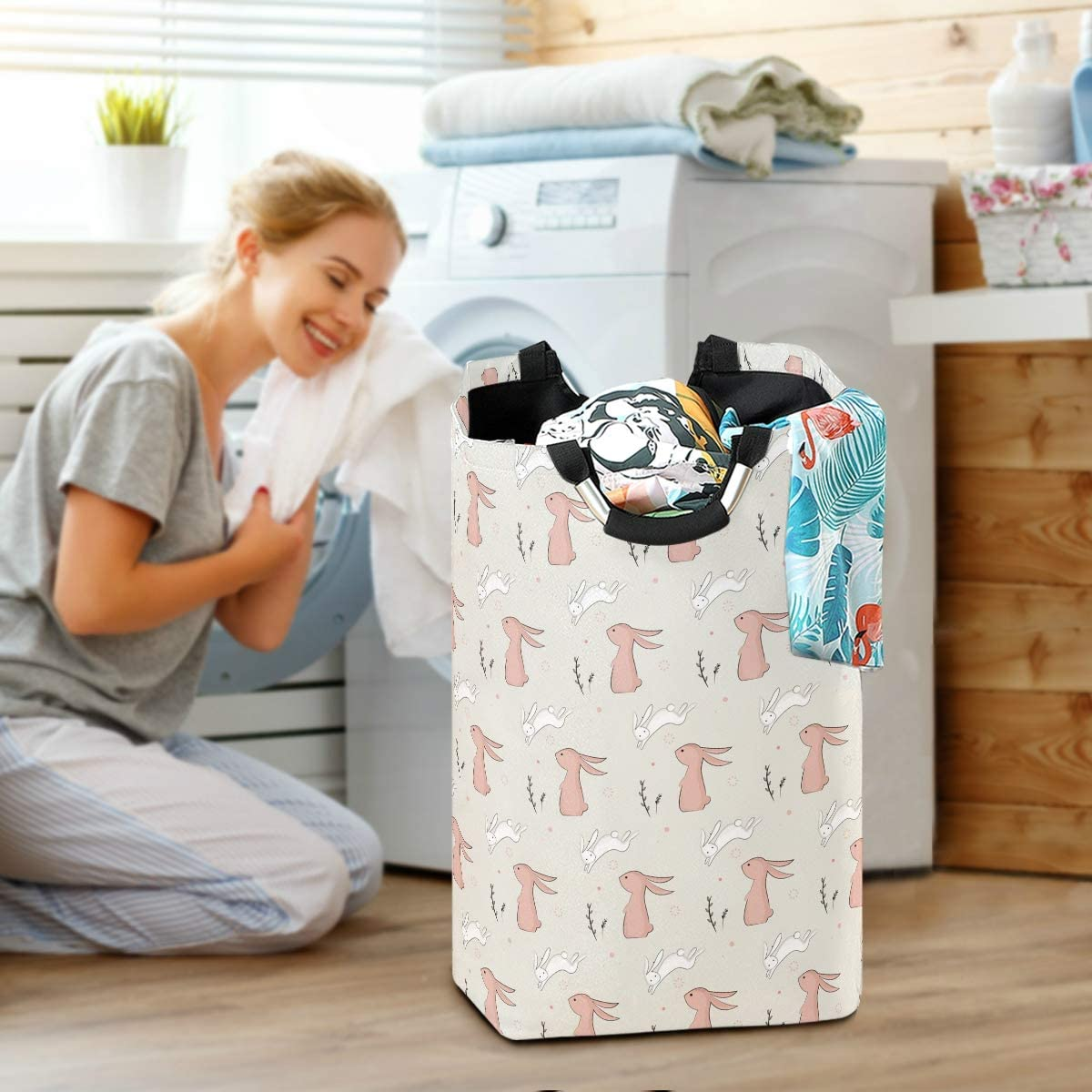 Waterproof Inner Nander Cute Bunny Animal Laundry Hamper Oxford Cloth Fabric Laundry Basket Collapsible Storage Bin with Aluminum Circle Handles