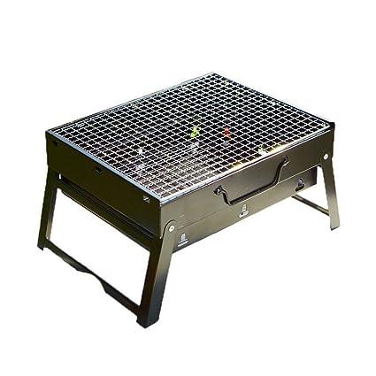 Parrilla Plegable portátil de Acero Inoxidable Gruesa Grill Set Parrilla de carbón al Aire Libre (