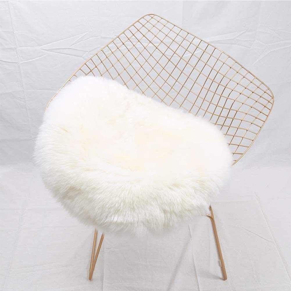YJ.GWL Super Soft Shaggy Faux Fur Sheepskin Chair Cover Area Rugs for Bedroom Sofa Fluffy Seat Pad, 1.2' Round