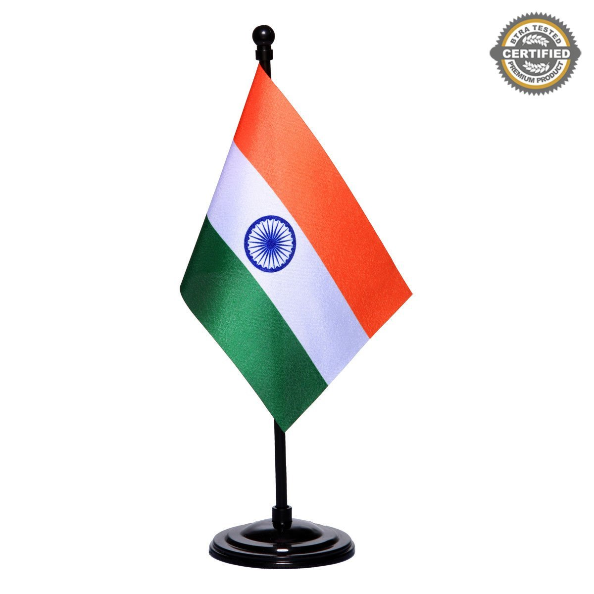 Indian Miniature Table Flag with A Black Plastic Round Base