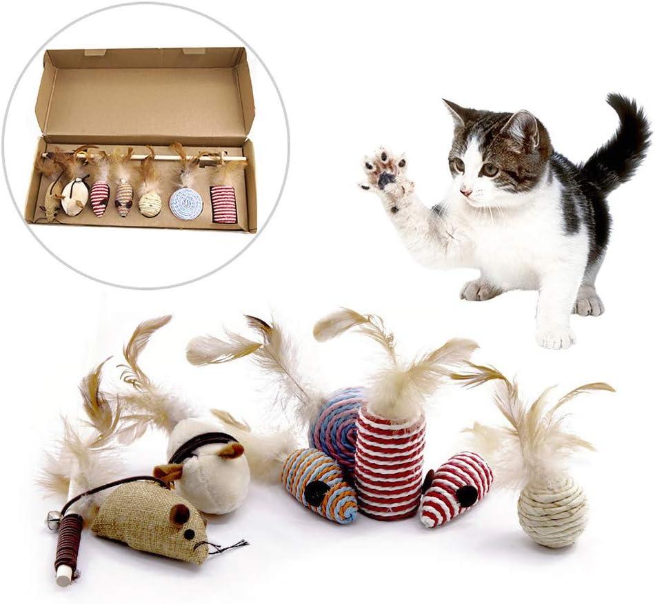 Feli546Bruce Juguete para Gato, Juguete para Gatos, 7 Piezas de Ratones Falsos de Plumas de Gato, Varita para Masticar, Juguete de sisal Interactivo, Varita para Gatos y Gatos: Amazon.es: Productos para mascotas