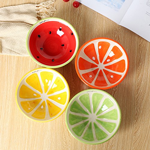 Small Side Plate (LOHOME® Cute Fruit Saucer, Ceramic Relish Soy Dessert Side Dish Small Plate Japanese Tableware In-glaze Color Food Dish 4 PCS/Set (Saucer))