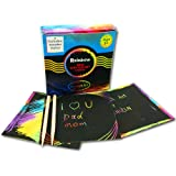 Rainbow Scratch Art Notes Mini Boards 50 Sheets With Two Wooden Stylus Drawing Pens