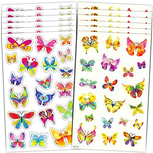 Butterfly Stickers Party Supplies Mega Pack -- Over 600 Butterflies Stickers (48 Party Favor (Butterfly Party Favors)