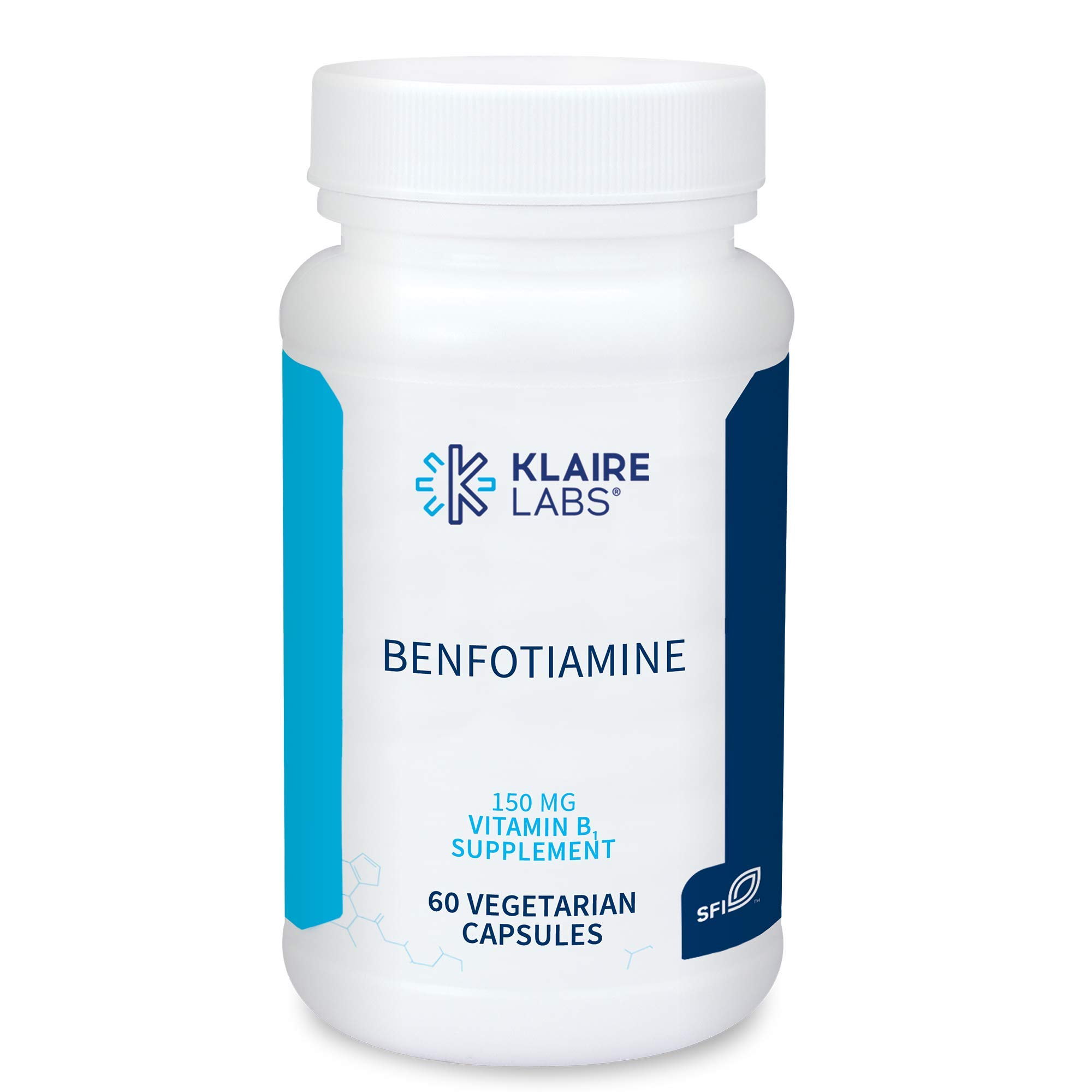 Klaire Labs Vitamin B1 150 mg - Benfotiamine Supplement for Men and Women - Fat-Soluble Thiamine for Improved Absorption - Helps Maintain Healthy Glucose Metabolism - Hypoallergenic (60 Capsules)