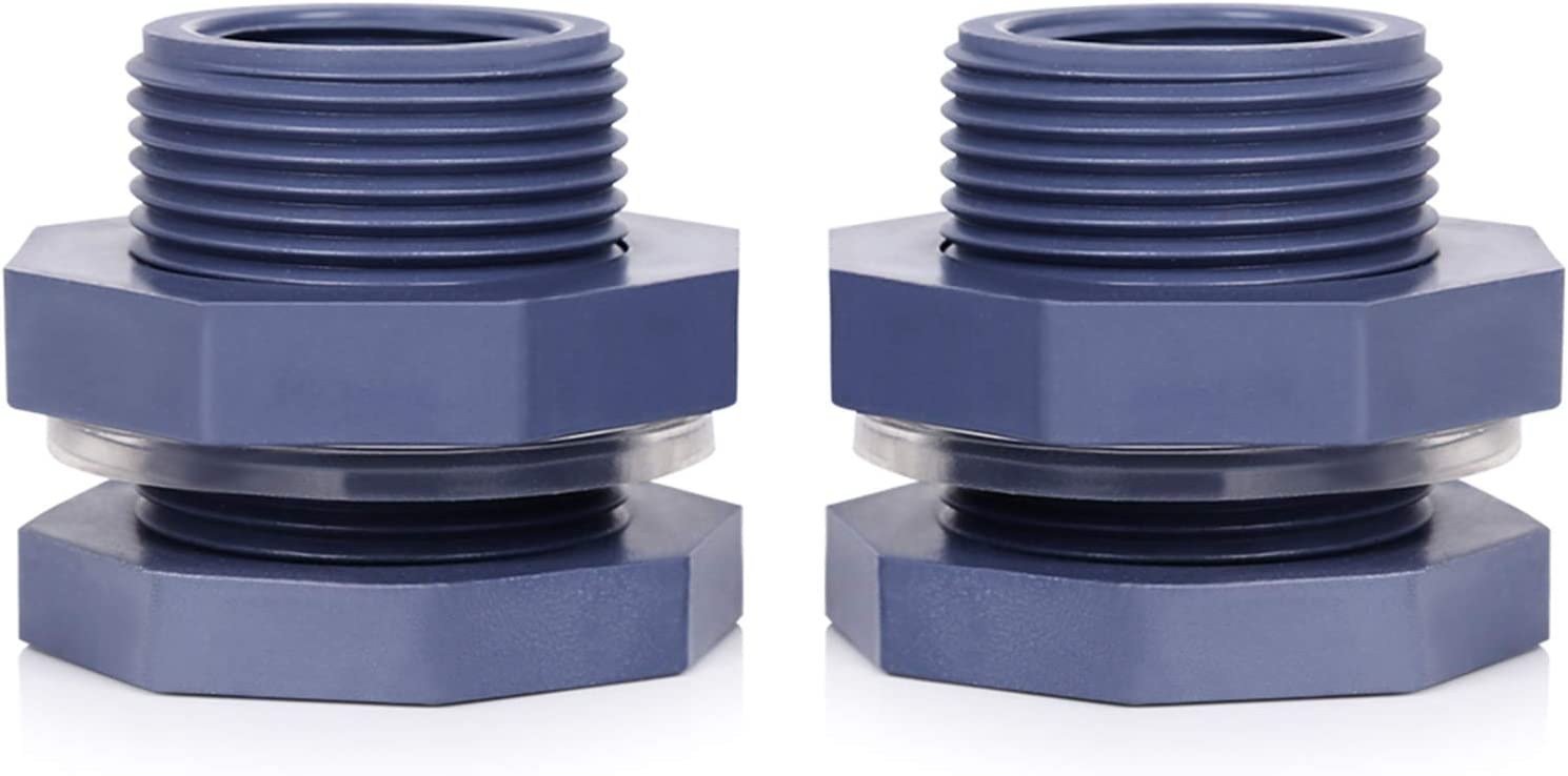Sisenny 3/4 Inch 2 Pack Water Tank Connector PVC Bulkhead Fitting Garden Hose Adapter Kit with Thick Silicone Seal Gasket for Rain Barrels, Aquariums, Water Tanks, Tubs, Ponds