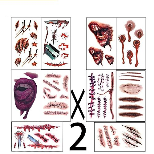 Zombie Face Tattoo (halloween costumes  zombie tattoos,Makeup For Halloween Party Prop decorations, Body Scar Stickers for Cos Play by Dream Loom (20 sheet))