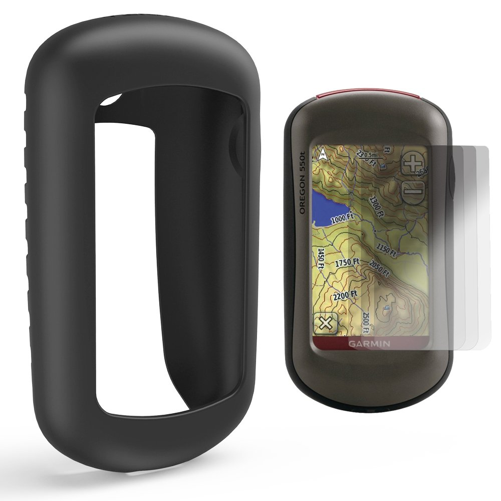 TUSITA Case with Screen Protector for Garmin Oregon 200,300,400,400t,400c,400i,450,450t,550,550t Handheld GPS Navigator,Replacement Silicone Protective Skin Cover Accessories (Black)
