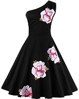 Tempt me Womens Vintage Black Embroidered Off Shoulder Swing Rockabilly Dresses
