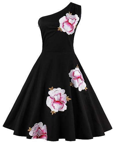 Tempt me Women Vintage 1950s Off One-Shoulder Floral Black Cocktail Party Dress Picnic Dress