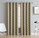 108 curtain panels pair - HLC.ME Lattice Print Thermal Insulated Blackout Room Darkening Window Curtains for Bedroom - Taupe - 52