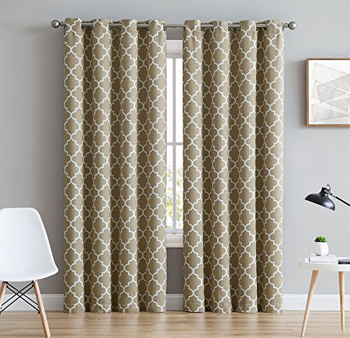 HLC.ME Lattice Print Thermal Room Darkening Blackout Curtains for Bedroom - Taupe - 52