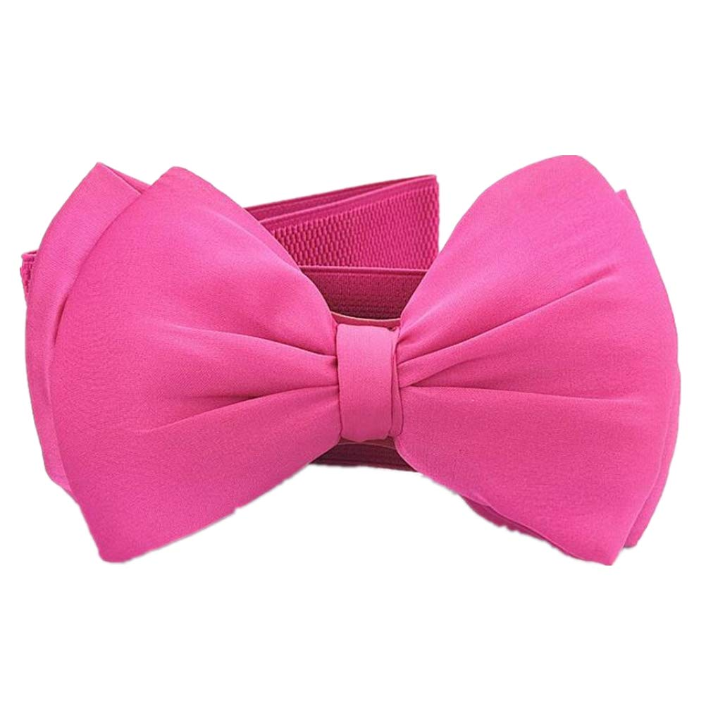 Kid Elastic Bow-Knot Stretch Waist Belts Cinch For Little Girls Dresses Cummerbunds (Hot Pink, L-Waist(25''-30''))