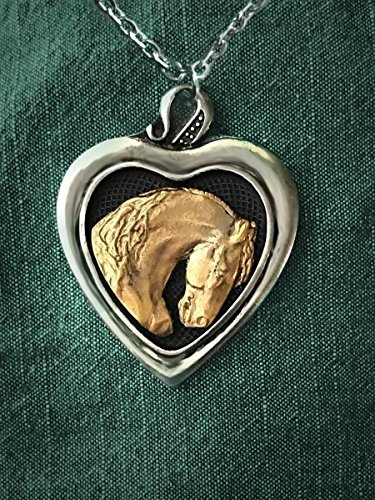 Horse necklace, Heart pendant,sculptural Friesian Stallion horse pendant, two tone gold & pewter, handmade (Pewter Horse Pendant)