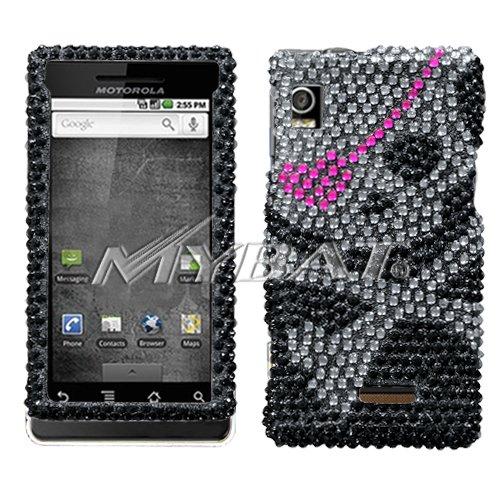 Hard Diamante Protector Skin Cover (Faceplate/Snap On) Full Rhinestones Diamond Bling for Motorola Droid A855 Verizon - Pink Heart Skull ()