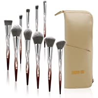 MAANGE Makeup Brushes Set Professional Premium Cosmetic Brushes for Foundation Blending Blush Concealer Eye Shadow Brush Tool With Case Leather Cosmetics Bag