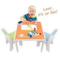 Tavolo da attività e tavolo da lavoro Labebe Kids in legno, da 1-5 anni, con lavagna per la pittura / lettura / gioco di gruppo in classe e in casa, regalo di compleanno creativo per i più piccoli