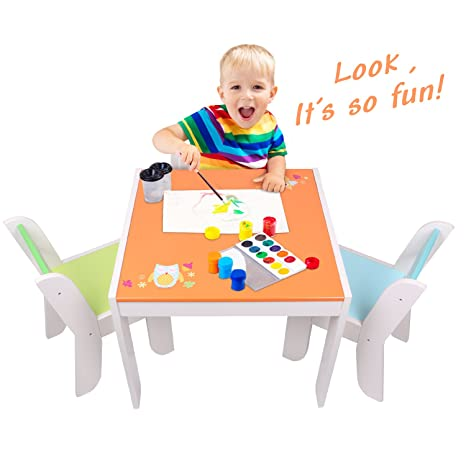 Etonnant Labebe Wooden Activity Table Chair Set, Orange Owl Toddler Table For 1 5  Years