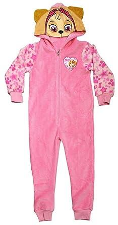 4fae5cc7b6a0 Paw Patrol Skye Fleece Onesie Girls Hooded All In One Pink Sleepsuit ...