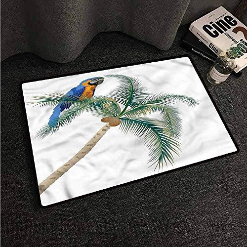 - Floor Mat Entrance Doormat Parrot,Parrot Coconut Palms,W24 xL35 Carpet mat