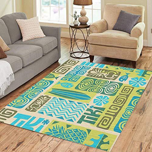 Semtomn Area Rug 5' X 7' Colorful Hawaiian Exotic Tiki Pattern Tribal Flower Surfboard Tahiti Home Decor Collection Floor Rugs Carpet for Living Room Bedroom Dining Room