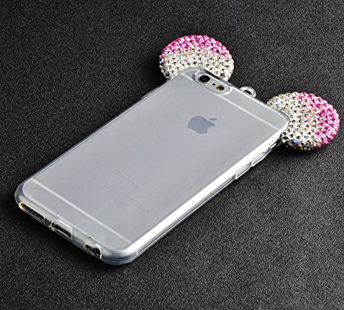 para iPhone 6s Funda, para iPhone 6 Case, Vandot Flexible TPU Protective Carcasa con el Soporte del Orejas de Conejo, 3D Fluido Líquido Quicksands Enchapado Bumper Suave Cubierta del Gel de TPU con la MQEar 04