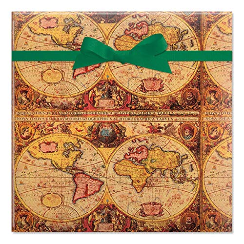 Vintage World Maps Jumbo Gift Wrap Roll - 23 Feet x 35 Inches (67 Square Feet Total), Peek-Proof, for Birthdays, Graduations, Father's Day and More ()