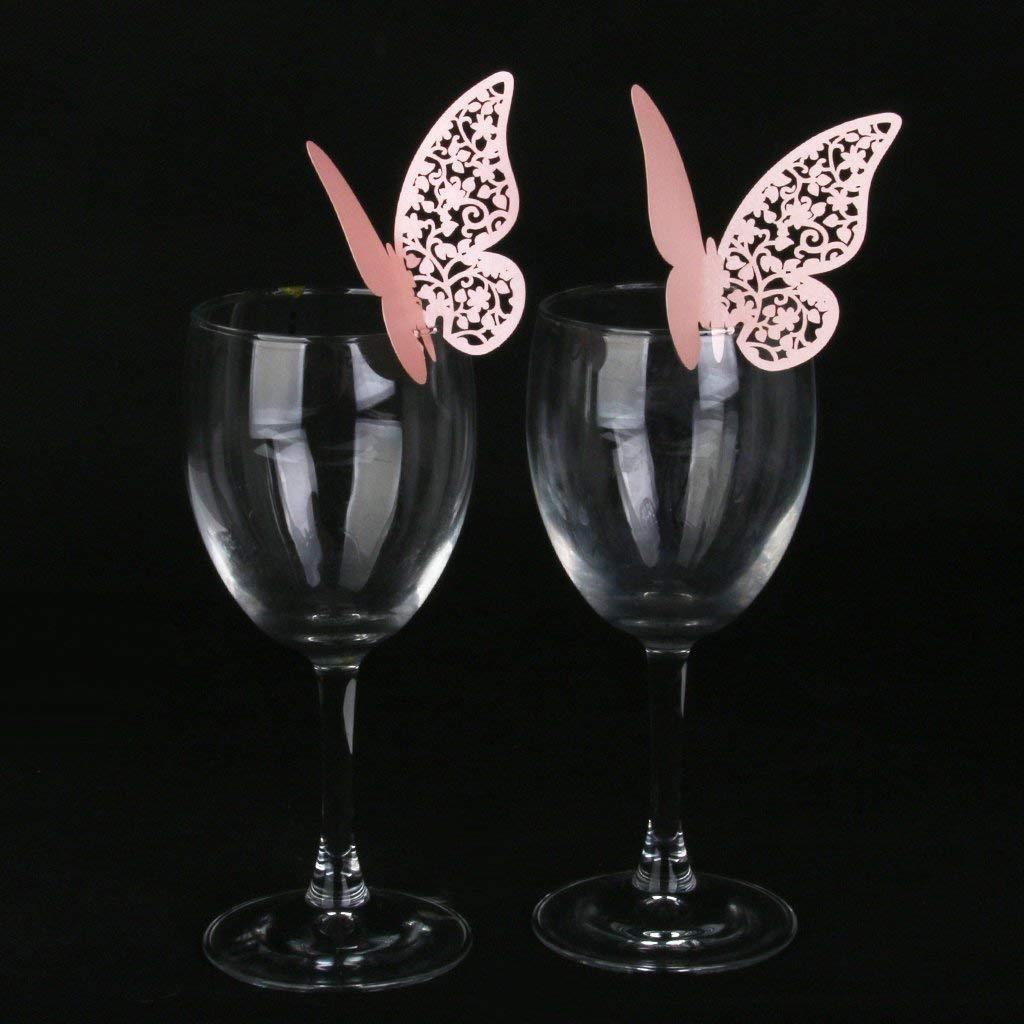 Aofocy 50pcs Verre Carte Marque carr/ée Papillon d/écoration de Table Rose