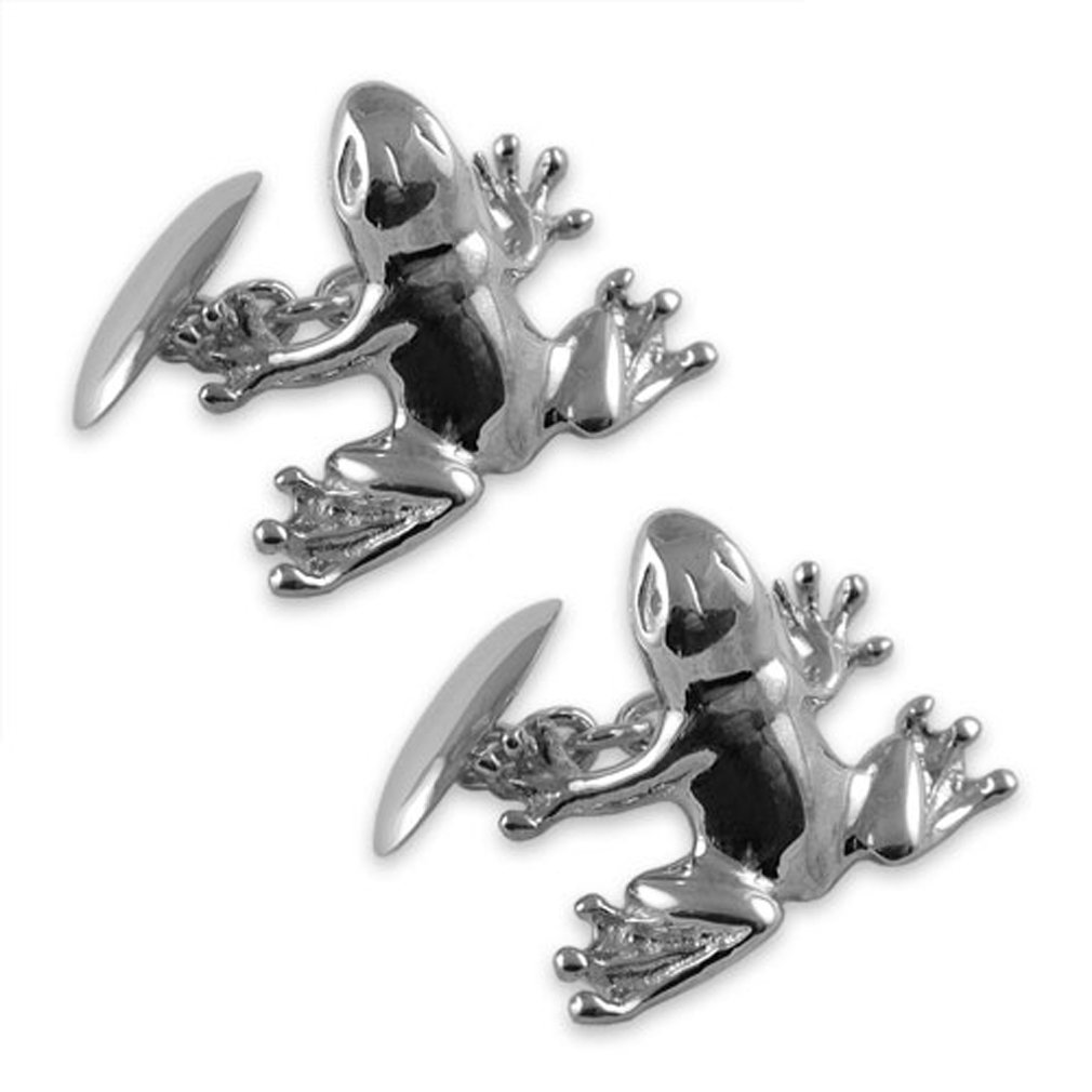 Sterling silver frog Cufflinks Shirt Dress Studs Gift Set