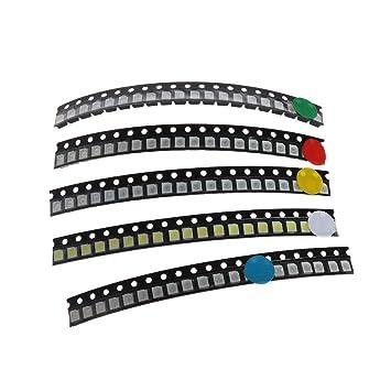 BIlinli 100 St/ück 5 Farben SMD 3528 1210 LED Licht Rot Gr/ün Blau Gelb Wei/ß Assotment Kit