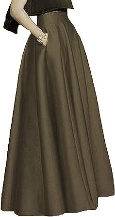 DreamSkirts Faldas largas de satén para Mujer, Faldas de Cintura ...