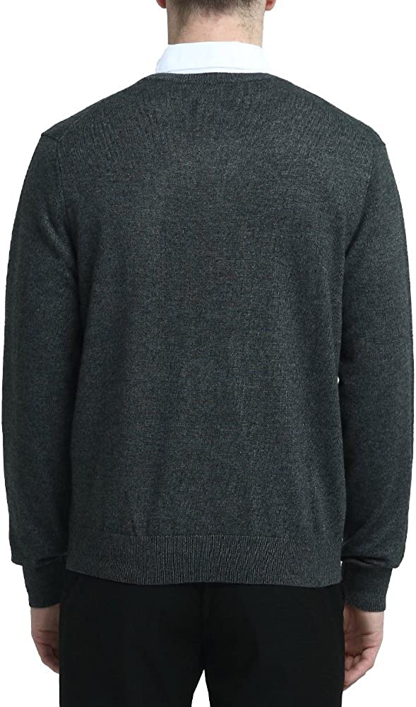 Kallspin Men/'s Cashmere Wool Blend Relaxed Fit V-Neck Sweater Pullover