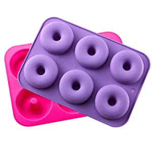 "KLEMOO 2-Pack Donut Baking Pan, Silicone, Non-Stick Mold, Bake Full Size Perfect Shaped Doughnuts to Sweeten Your""Hole"""